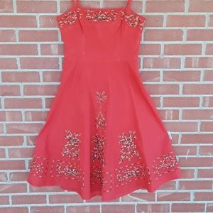 vintage rockabilly embroidered swing dress size m